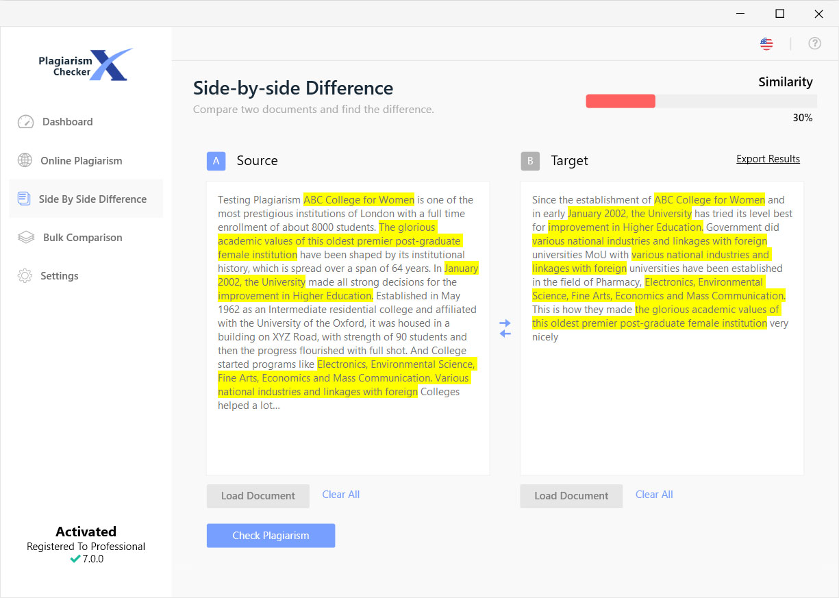plagiarism checker x side by side comparison side by side comparison