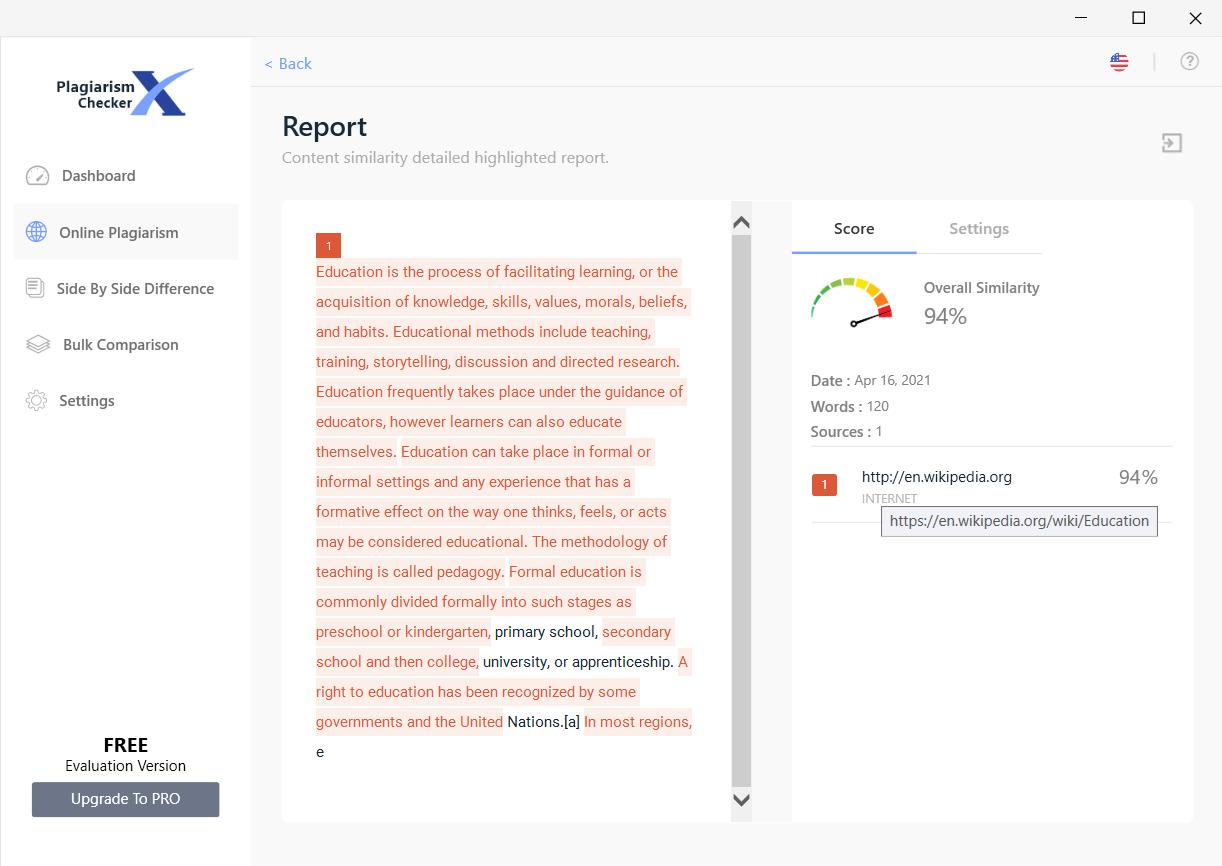 Online Plagiarism Report