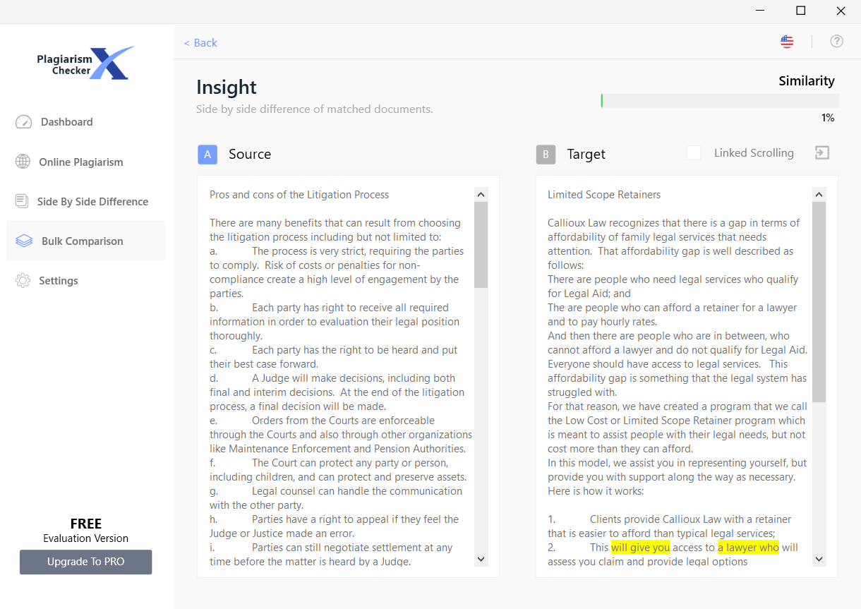 Detailed text compare